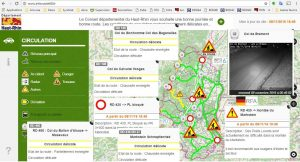 Résumé de l'état des routes départementales du 8-11-2016 (www.inforoute68.fr)