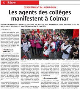 L'Alsace (07.02.17) - Region - Les agents des collèges manifestent à Colmar #ATC