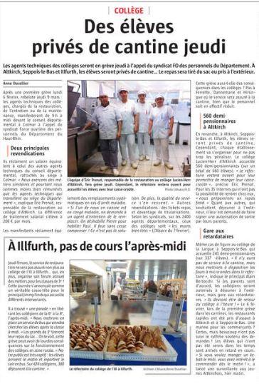 L'Alsace - Edition Altkirch/Sundgau (07.03.17) - Collège - Des élèves privés de cantine jeudi #ATC